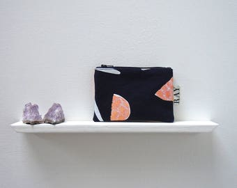 Navy coin purse with coral print