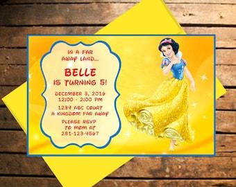 Downloadable Snow White Themed Birthday Invitation
