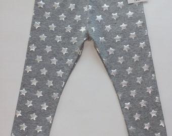 Toddler cotton leggings,silver star leggings,kids silver leggings,girls star leggings,girls grAy leggings,toddler star leggings,silver star