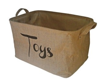 Natural Jute Hessian Burlap Storage Basket for Toys Rustic Nursery Basket New Baby Gift Basket Play Room Organizer