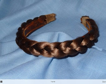 """1930's-40's Vintage Human Hair Braided Headband Small Adult or Child's 13"""" Interior"""