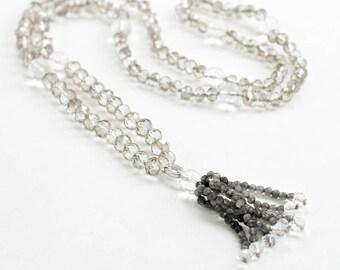 Smoky Gray Crystal Healing Meditation Mala Necklace