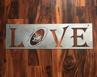 "Metal Love Coffee Wall decor 23"""