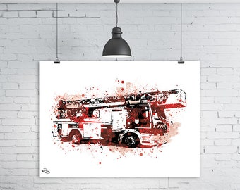 Fire truck illustration, Fireman print, decoration passion sapeurs-pompier, soldier of the fire poster, red and black art