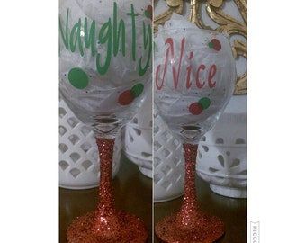 Have you been Naughty or Nice this year? (Wine glasses)