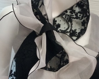 Lace and organza scarf