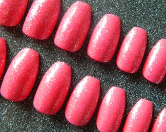 Pink Glitter Short Coffin Nails