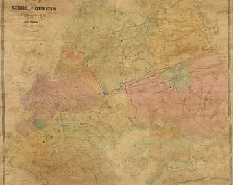 1852 Map of Kings and Part of Queens County New York