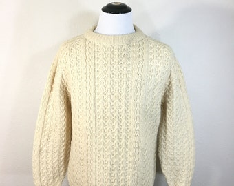 70's vintage cable fisherman sweater made in ireland size L