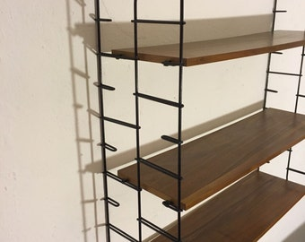 Danish mid century string ladder shelf with teak flooring