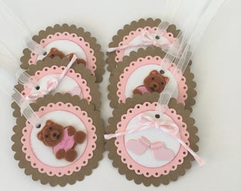 Baby Girl Tags, gift tags, pink teddy bear tags, pink booties tags, shower gift tags, baby arrival tags, newborn tags, welcome baby tags