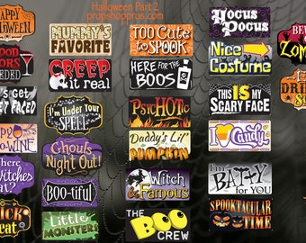 Halloween Props | Halloween #2 Signs | Photo Booth Props | Prop Signs
