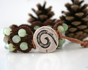 Wrap bracelet, jade beaded bracelet, textile jewelry, energy bracelet, gemstone bracelet, boho wrap bracelet, handmade.