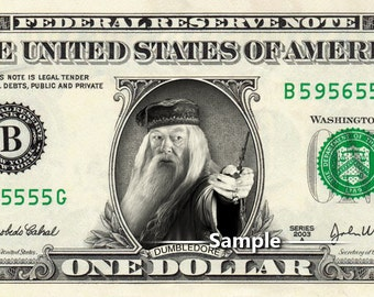 PROFESSOR DUMBLEDORE on a REAL Dollar Bill Harry Potter Cash Money Collectible