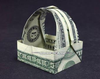 GIFT BASKET Money Origami Art Dollar Bill Animal Cash Sculptors Bank Note Handmade Dinero