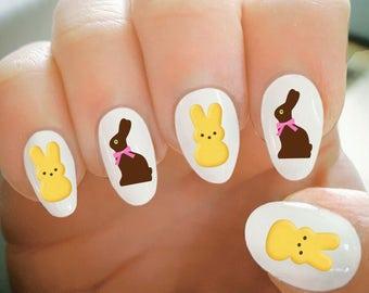 Nail Decals,Easter Nail Decals, Chocolate Bunny, Rabbit, Water Transfer Nail Decals,Nail Tattoo,Fashionable Nail Art,Custom Nail Decals