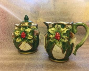 1990s Opulence Christmas Holiday Holly Creamer & Lidded Sugar Bowl Set (IOB)