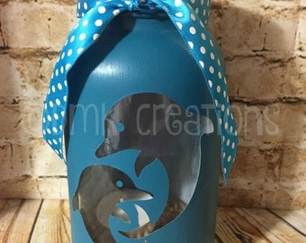 Dolphin Painted Mason Jar Tea Light Candle Holder, dolphin, ocean, painted mason jar, mason jar, tea light candle holder, lantern, gift idea