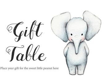 Baby shower elephant etsy baby shower elephant theme baby shower decorations boy baby shower printables baby shower negle Images
