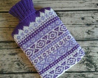 Purple Fair Isle Knitted Hot Water Bottle Cover - Hot Water Bottle Included