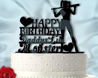 Harley Birthday Cake Topper Daddy's Lil Monster