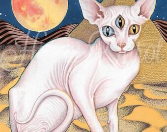 Sphinx Cat Print - Psychedelic Art, Metaphysical Art, Hairless Cat, Art Poster, Psychedlic Print, Cat Art, Wall Art, Psychedelic Cat