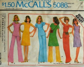 Uncut 1970s McCall's Vintage Sewing Pattern 5086, Size 12; Misses' Dress or Tunic Or Top and Pants