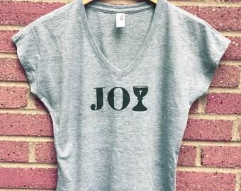 Joy Shirt | V Neck Womans Tee, Gray, Chalice, Faith, Religious, Inspirational, Gift, Super Soft, Triblend