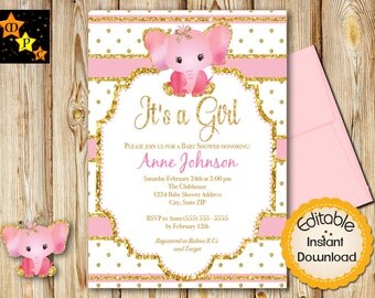 """Pink and Gold Baby Shower Invitation, Girl, Elephant, INSTANT download, EDITABLE in Adobe Reader, DIY, Printable, 5""""x7"""""""