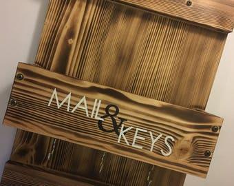 wood mail organizer - wood key holder - wood mail holder - mail home decor - mail organizer - custom mail holder - custom mail rack