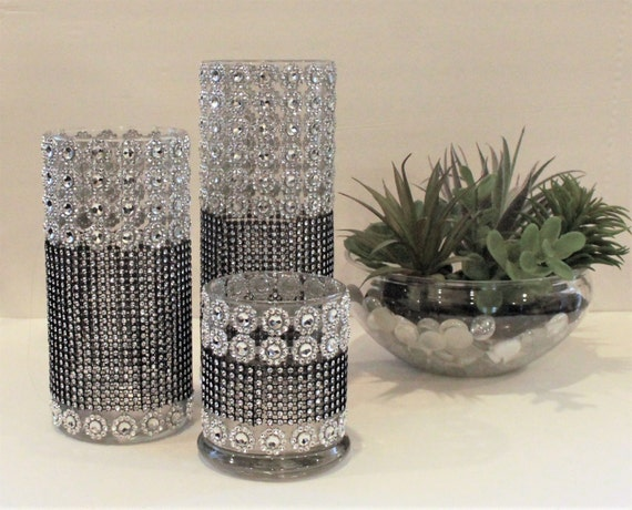 Piece votive candle holder bling rhinestone