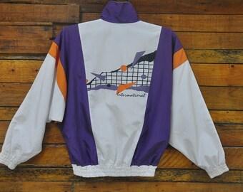 Rare Vintage 90s GOLDWIN International Tennis Gear Zip Up Windbreaker Jacket,Size L,Goldwin Tennis Jacket,Challenge Court,Hip Hop,Streetwear