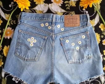 Vintage Levis Cut Off Shorts Daisy Embroidery - Hippie Coachella Festival Boho Style