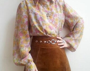 Syd Floral Blouse Vintage 60s Pyichedelic Acid Floral Pattern