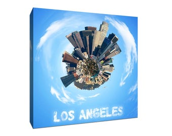 Los Angeles - City Planet 360 Bird's Eye - Gallery Wrapped Canvas