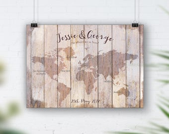 Reclaimed wood effect map print, Vintage wall map, Rustic wood wall print, Distressed wood wall art, Upcycled,Shabby Beach, Not Actual Wood