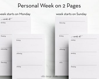 Week on two Pages, Personal Planner Inserts, Weekly Planner, Printable Inserts, Daily Planner, Undated Planner, Printable Planner
