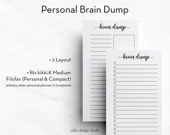 Brain Dump, Personal Planner, Brain dump inserts, Personal Inserts, To Do List, Printable Planner, Brain Dump Printable, Brain dump pages