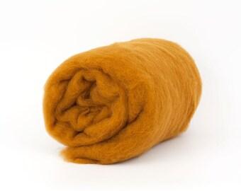 Mustard B185, 26mic Carded Wool Batt, 1.77oz (50gr) Felting wool, for spinning and needle felting.  100% wool.