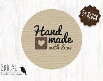 """24 stickers / labels / stickers """"Hand Made with love"""""""