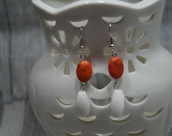 """Earrings """"red and white"""""""