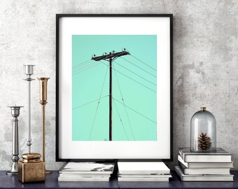 Powerline Wall Art, Electrical Power Lines, Printable Instant Download