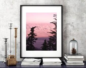 Pink Mountains Hills Valley Desert Wall Art Instant Download Print