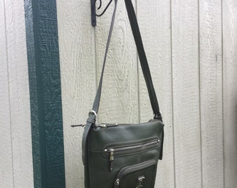 Tignanello, Leather Crossbody Vintage Green Purse, Adjustable Strap