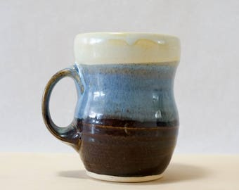 READY TO SHIP Handmade Mug in Mint Blue Brown - Hand Made Modern Pottery Contemporary Ceramic Clay Cup, Father's Day, Gift for Coffee Lovers
