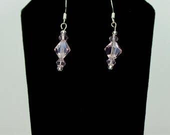 Pink Crystal Dangle Earrings