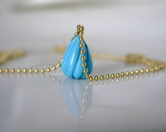 Ball chain necklace with turquoise pendant necklace 925 Silver gold plated