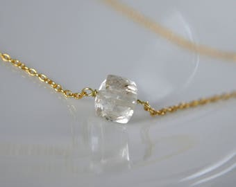 Fine necklace with gemstone Schampanja Topaz necklace 925 sterling silver gold plated