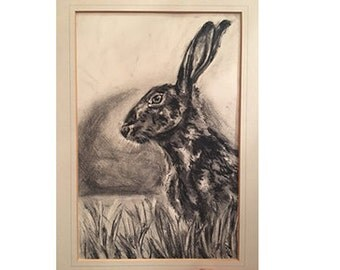 Charcoal drawing of 'Hedgwitch Hare'