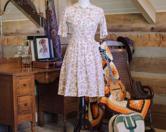 Vintage 1950's shirtwaist cotton tea dress